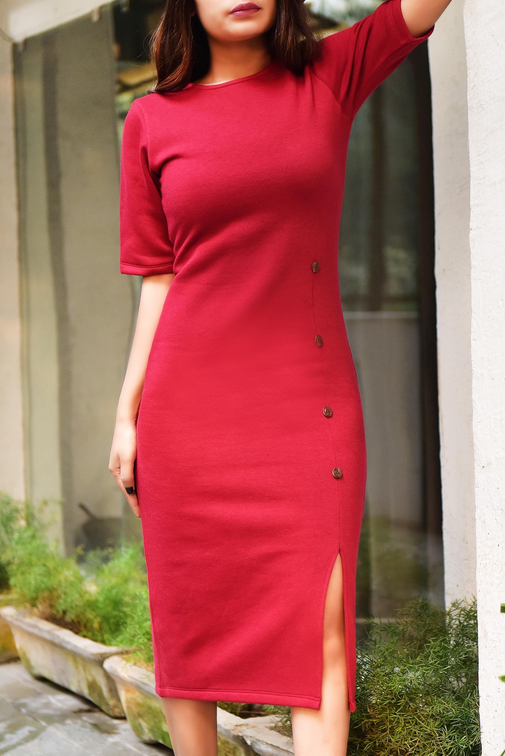 Side Slit Marsala Fleece Dress