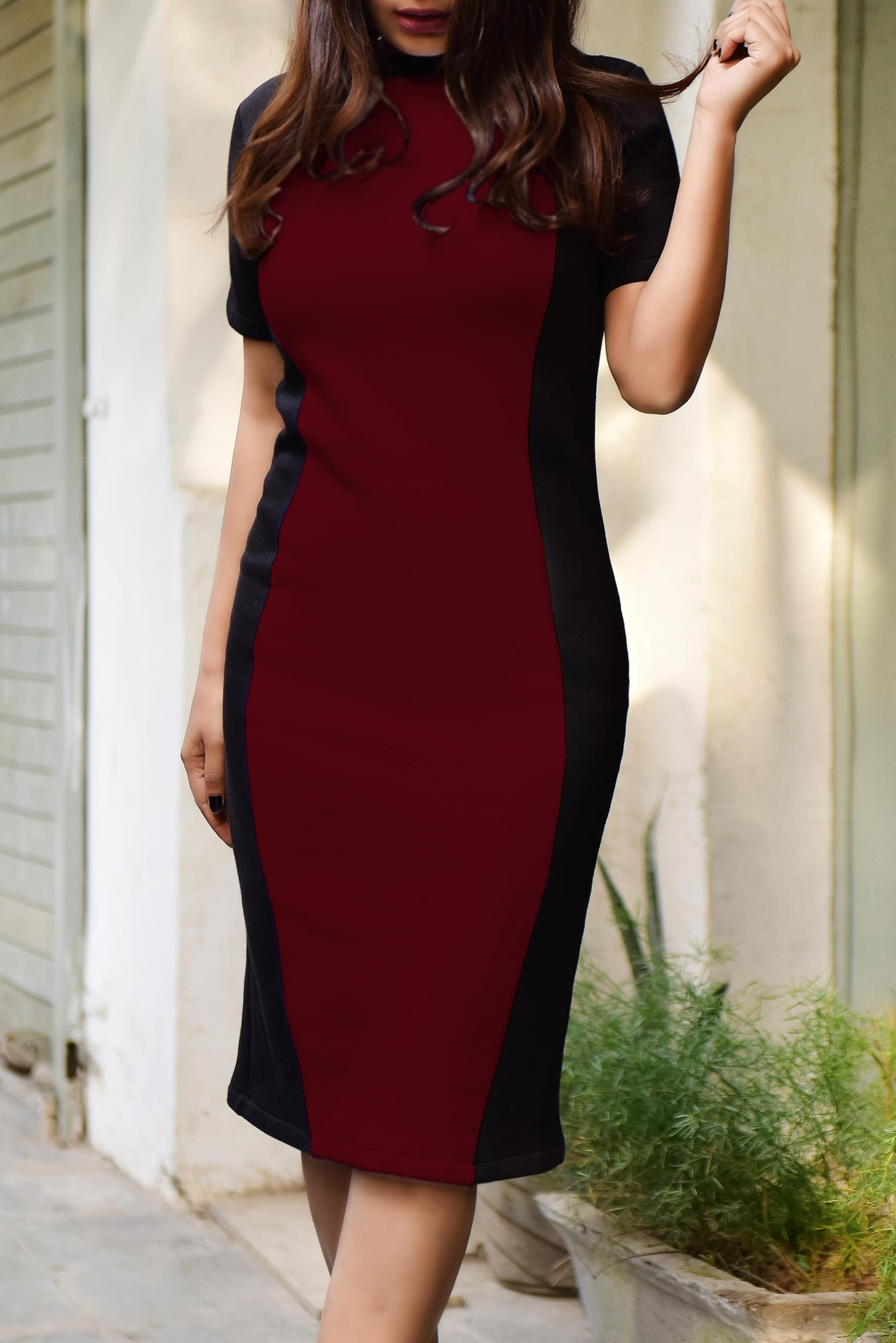 Black and Marsala Fleece Dress