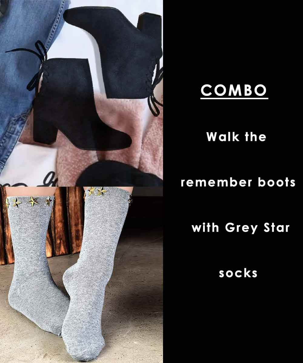 Combo - Walk to remember boots with grey star socks