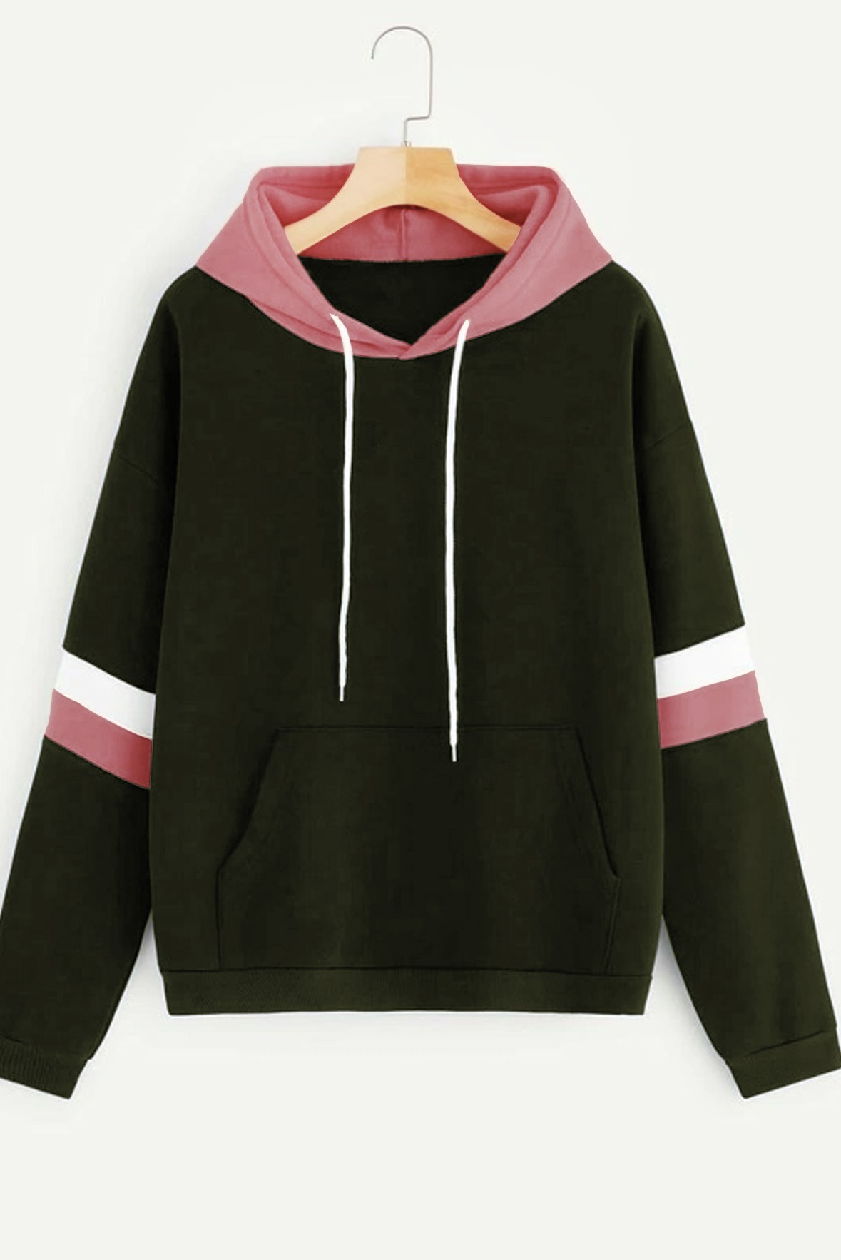 Contrast Striped Hoodie Army Green