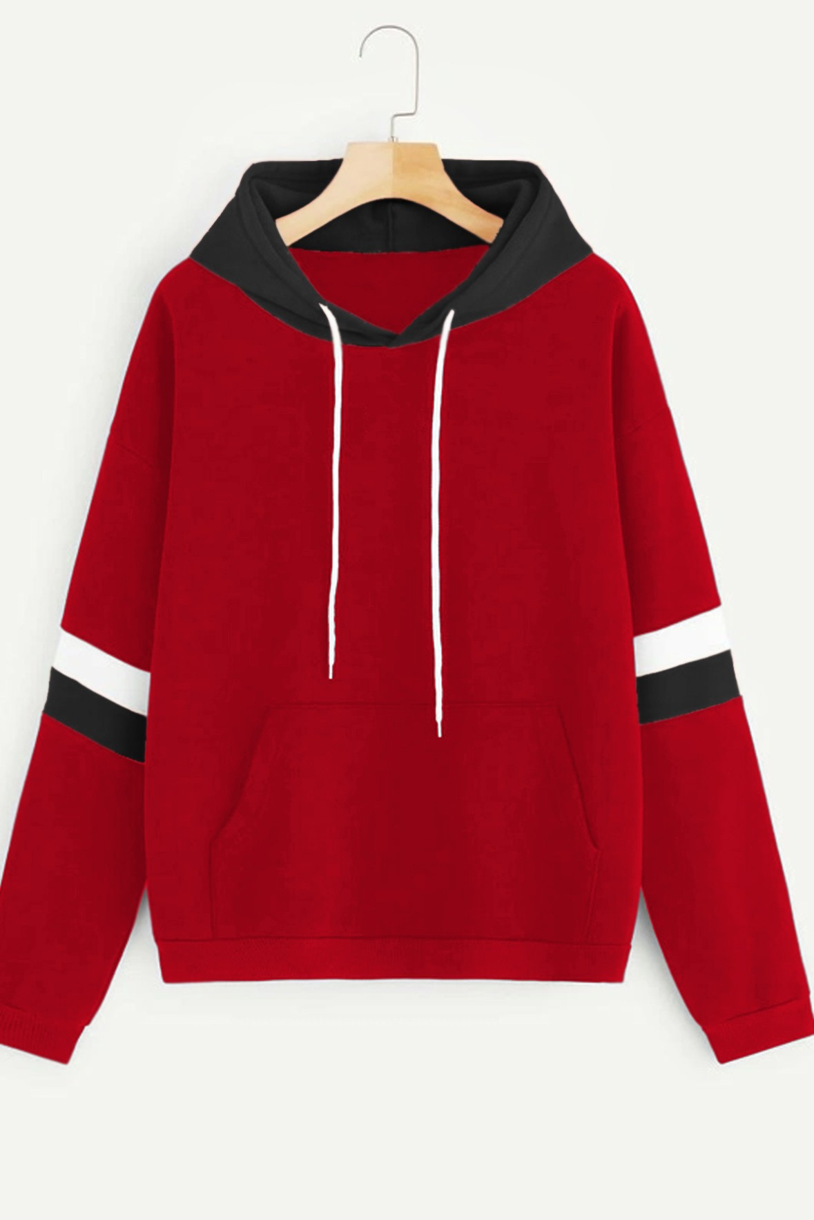 Contrast Striped Hoodie Red