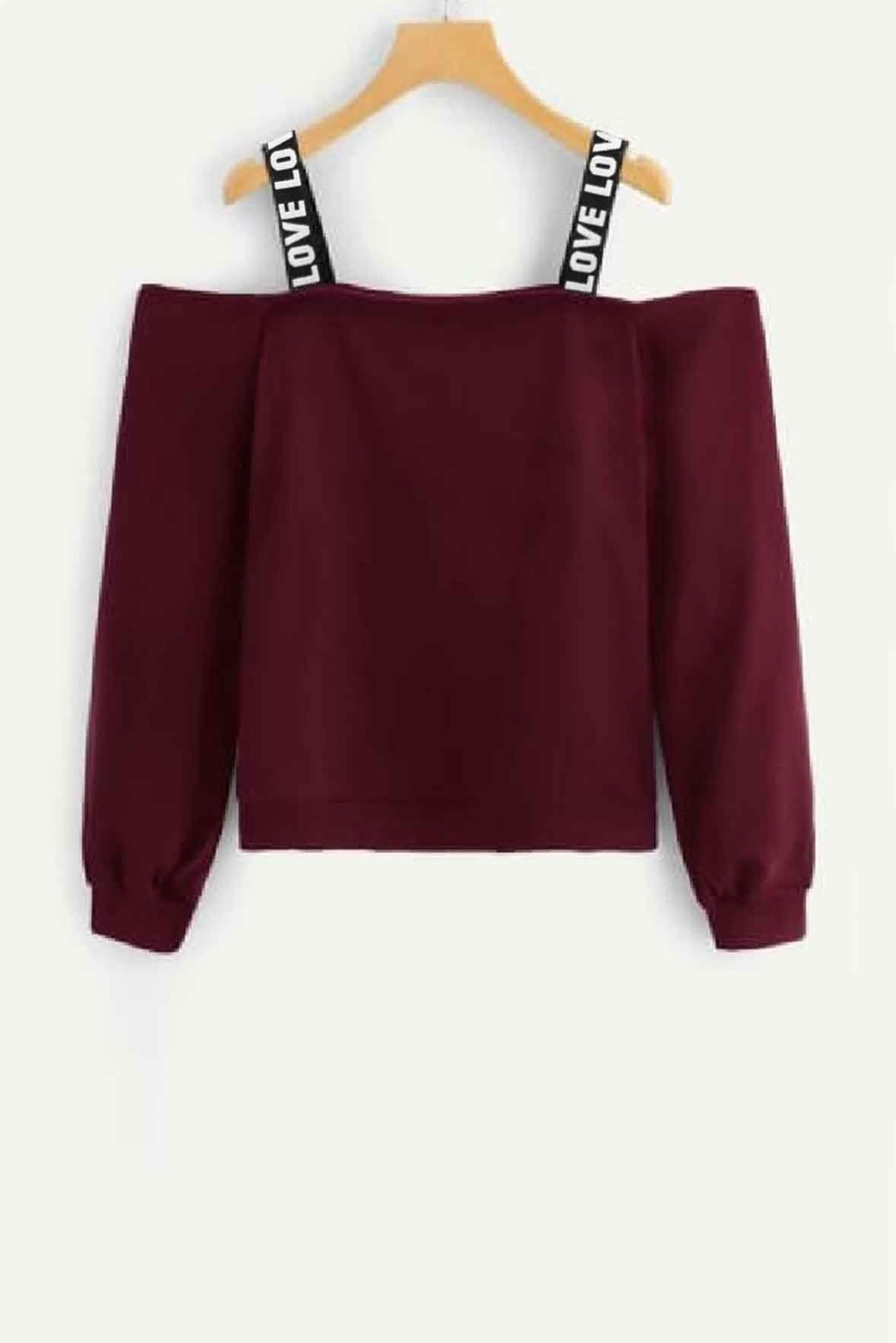 Love strip sweatshirt marsala