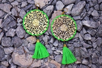 Green tassels Ethnic earrings