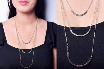 Bar layered necklace golden