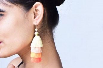 Colorful thread earrings
